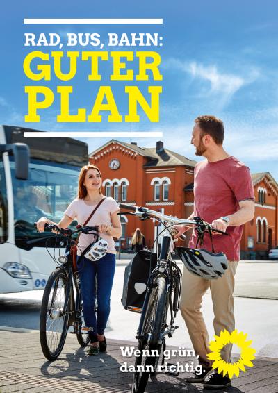 Rad, Bus, Bahn Guter Plan Themenplakat Mobilität